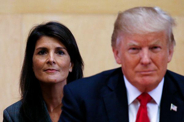 FILE PHOTO: U.S. Ambassador to the UN Nikki Haley (L) and U.S. President Donald Trump participate in a session on reforming the United Nations at UN Headquarters in New York, U.S., September 18, 2017. REUTERS/Kevin Lamarque/File Photo