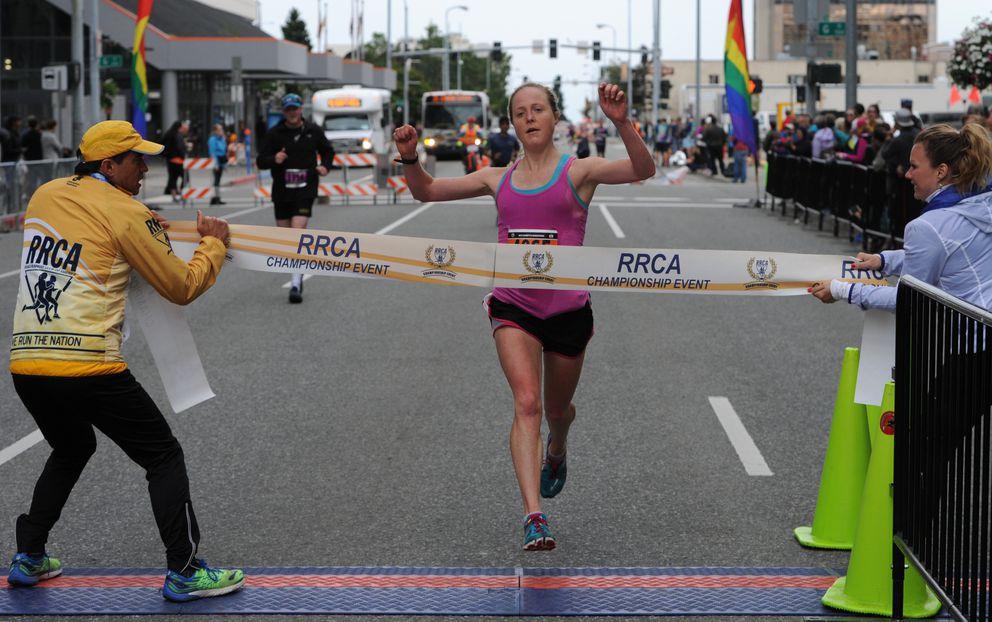 Keri McEntee of Fairbanks clocked 2:50:48 to set a women'smarathon record. (Bill Roth / ADN)