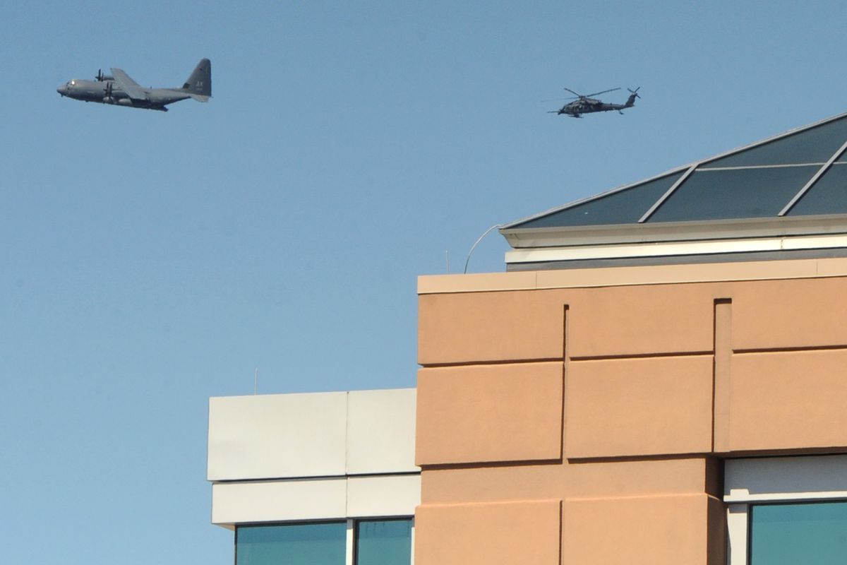 An Alaska Air National Guard HC-130J Combat King II and a HH-60 Pave Hawk helicopter flew over Mat-Su Regional Medical Center on Wednesday, May 13, 2020, part of the