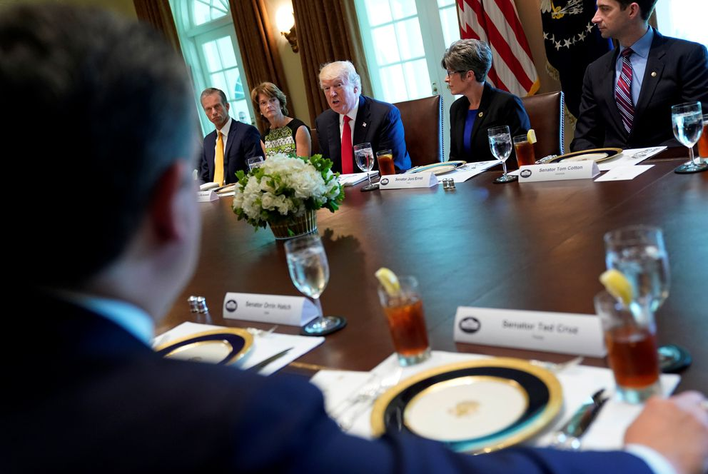 President Donald Trump attends a lunch meeting with members of Congress at the Cabinet Room of the White House in Washington on June 13, 2017. REUTERS/Carlos Barria