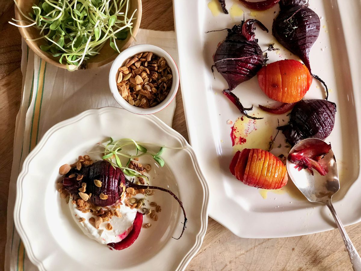 Hasselback beets with savory granola and orange-horseradish cream. (Kim Sunee)