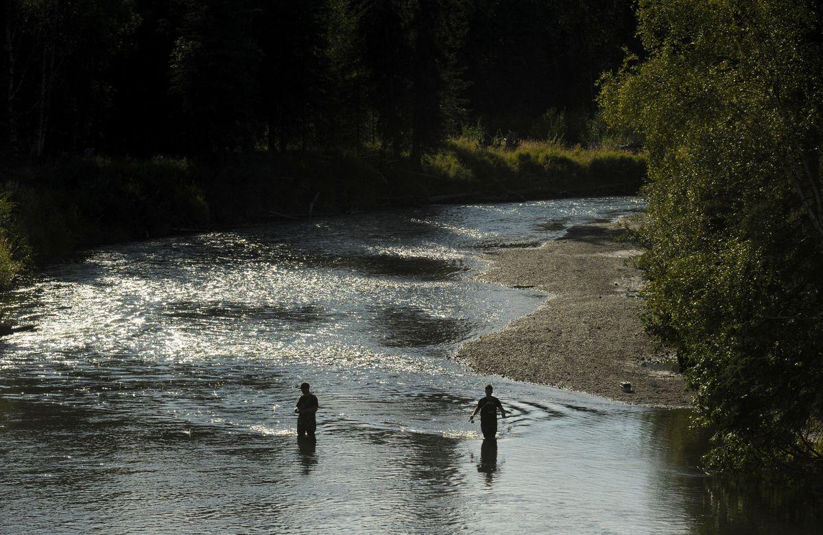 Fishing on the Little Susitna River near the Parks Highway Bridge. (Bob Hallinen / ADN file)