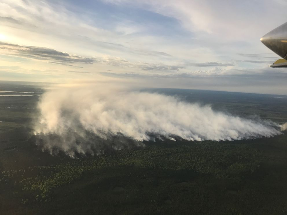 Smoke rises on June 16 from the East Fork Fire in the Kenai National Wildlife Refuge. (Tim Whitsall / Alaska Division of Forestry)