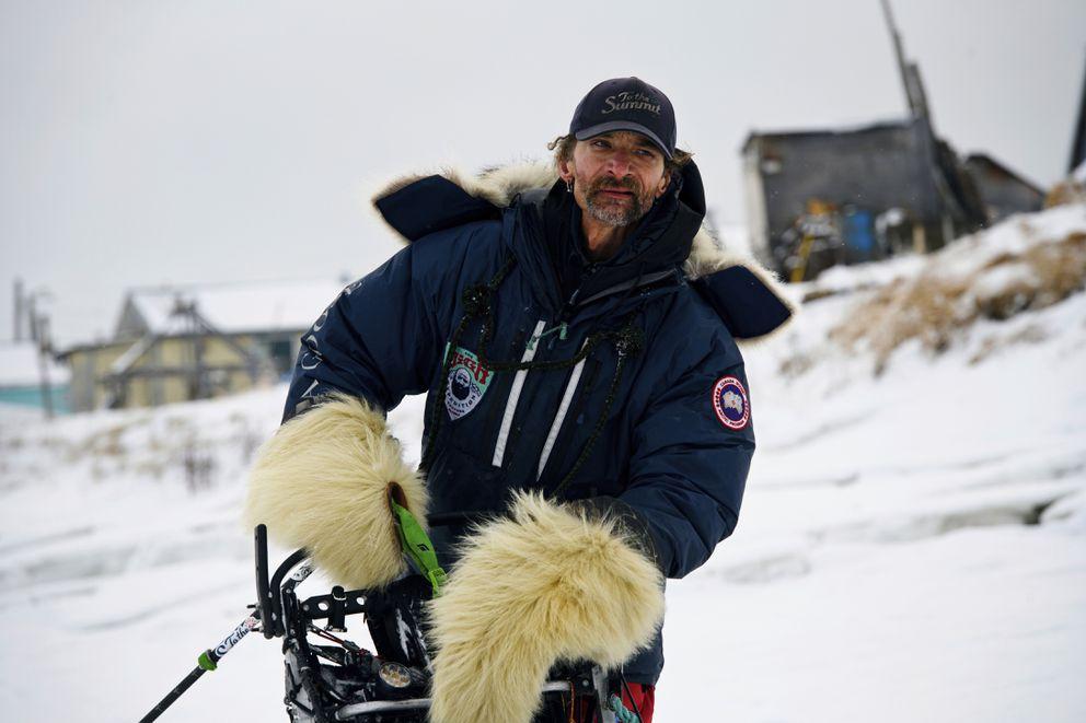 Musher Lance Mackey arrives in Unalakleet, Alaska, during the Iditarod Trail Sled Dog Race on March 11, 2019. (Marc Lester / ADN)