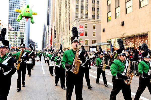 """Colony High School's marching band """"Thee Northern Sound"""" performs in the 91st Macy's Thanksgiving Parade in New York City, Nov. 23, 2017. (Jeff Day / groupphotos.com)"""