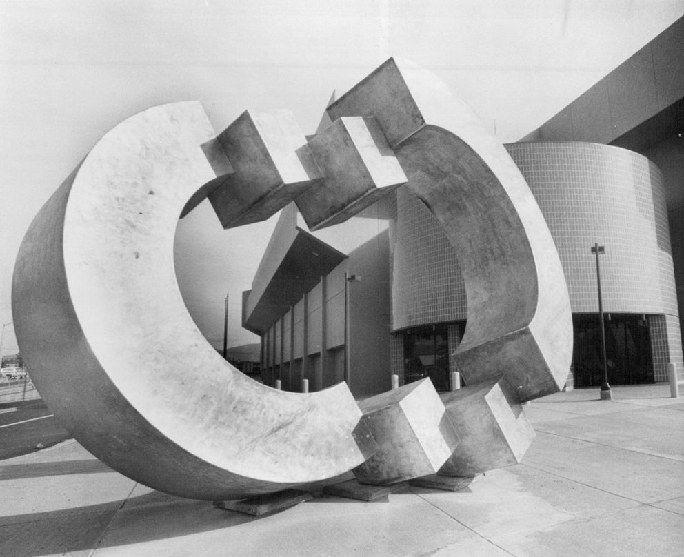 Newest addition to Sullivan Arena 'Transitions ', artist-Jim Schoppert, Sept. 11, 1983. (Anchorage Daily News archive)