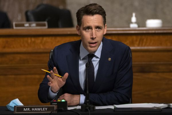 FILE - In this Aug. 5, 2020, file photo Sen. Josh Hawley, R-Mo., speaks during a Senate Judiciary Committee oversight hearing on Capitol Hill in Washington. Hearings before the Republican-led Senate Judiciary Committee will begin Monday, Oct. 12, for President Donald Trump's Supreme Court nominee Judge Amy Coney Barrett. (AP Photo/Carolyn Kaster, Pool, File)