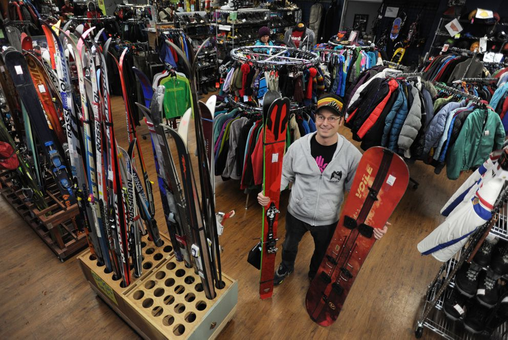 Dana Drummond is owner of the Hoarding Marmot, a new and used outdoor gear and clothing store located across Northern Lights Boulevard from REI. Photographed Thursday. (Bill Roth / ADN)