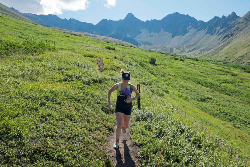 A racer heads back toward Lazy Mountain after climbing Matanuska Peak during the Matanuska Peak Challenge in 2015.  (Marc Lester / Alaska Dispatch News archive 2015)