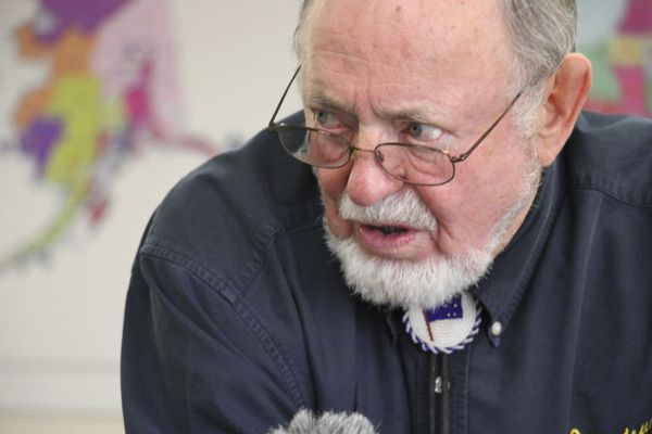 U.S. Rep. Don Young, answers a reporter's question after filing paperwork for re-election Friday, June 28, 2019, at the Alaska Division of Elections in Anchorage, Alaska. The 86-year-old Alaska Republican is seeking a 25th term and has served since 1973. (AP Photo/Mark Thiessen)
