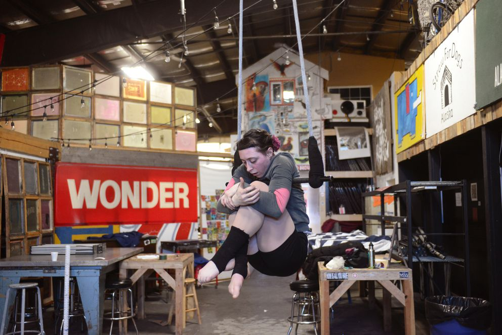 "Ariel Schmidtke practices an excerpt from her show ""A Length of Rope"" on Thursday afternoon, March 16, 2017, at Anchorage Community Works in the Ship Creek area downtown. (Erik Hill / Alaska Dispatch News)"