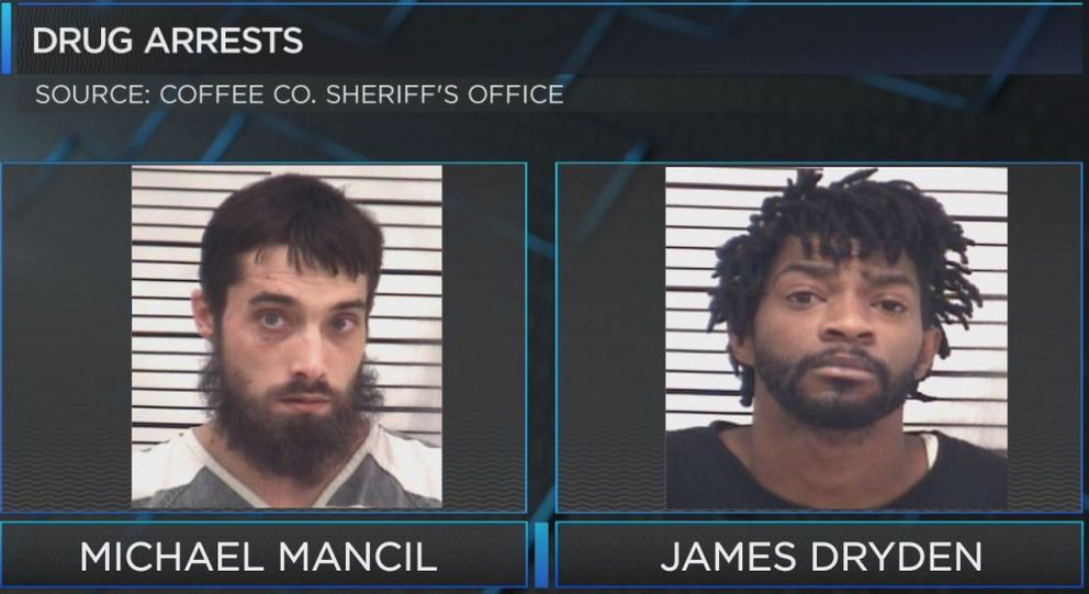 Investigators in Douglas, Ga., said drug suspects Michael Mancil and James Dryden were plotting to attack the HAARP antenna farm in Alaska. (Coffee County, Ga., Sheriff's Office via WALB)