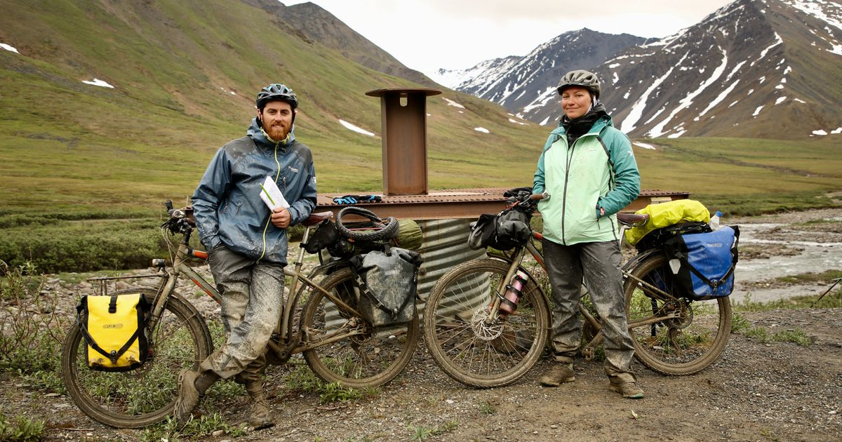 French bicyclists Jeremy Vaugeois and Sophie Planque on the Dalton Highway before an accident June 20 (Courtesy of Sophie Planque)