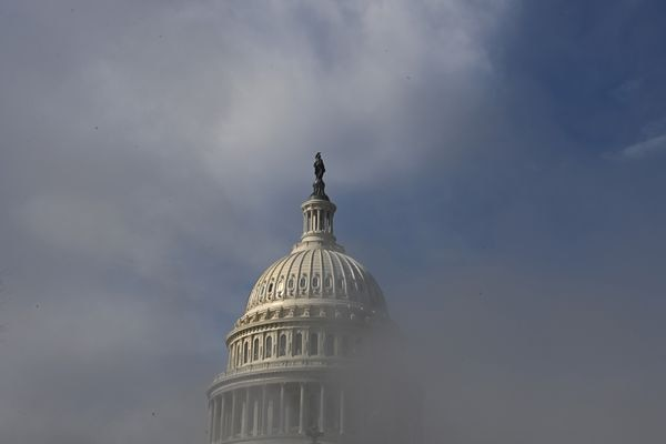 The dome of the U.S. Capitol is obscured by steam on the first day of former president Donald Trump's second impeachment trial on Tuesday, Feb. 9, 2021. MUST CREDIT: Washington Post photo by Matt McClain