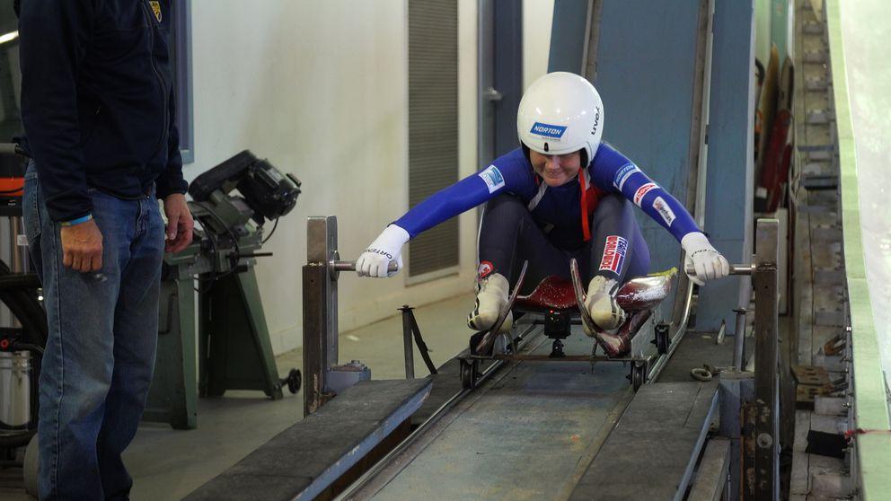 Washington Post reporter Sarah Larimer learned the mechanics of the luge start. (Washington Post photo by Jorge Ribas)