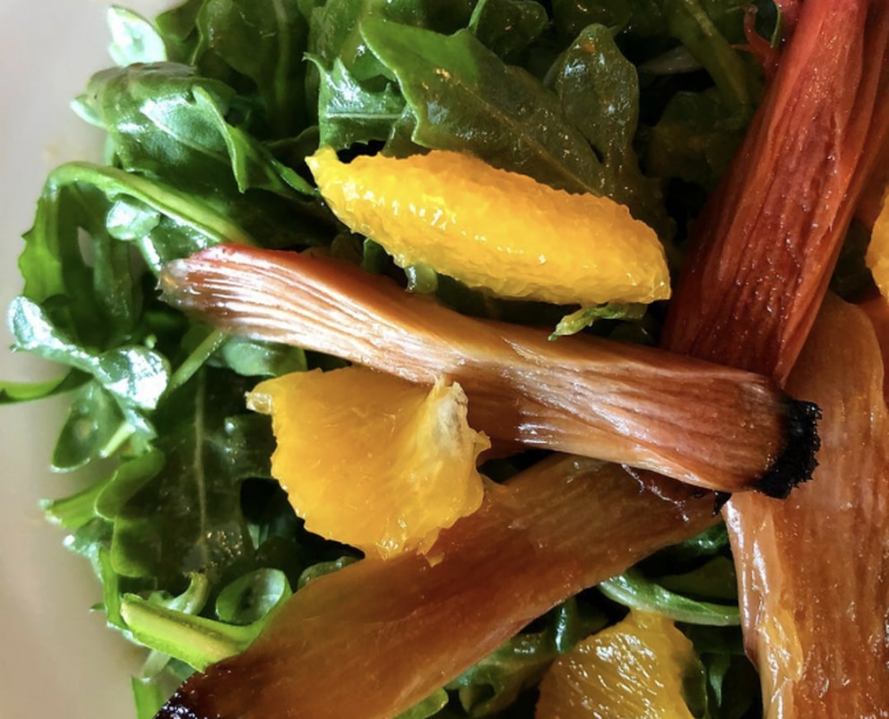 Roasted rhubarb salad with citrus dressing at Hearth Artisan Pizza. (Julia O'Malley/ADN)