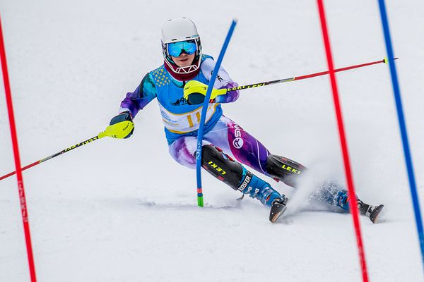 Mary Grace Stahla, an Alyeska Ski Club U16, finished third in the first of two Alyeska Cup/Alaska State Championship slaloms Friday at Alyeska. Stahla then won the second slalom outright. (Photo by Bob Eastaugh)