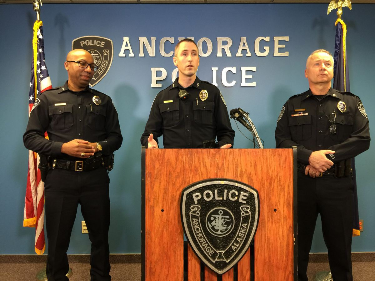 APD Chief Justin Doll talks at the press conference Tuesday morning. (Bill Roth / Alaska Dispatch News)
