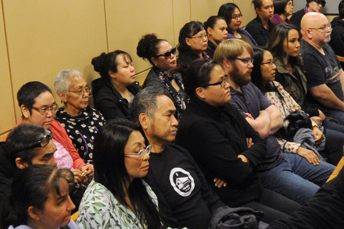 Relatives of Veronica Abouchuk filled the courtroom gallery as they attended the arraignment of Brian Steven Smith on Monday, Oct. 21, 2019, who has been charged with murdering the 52-year-old woman. (Bill Roth / ADN)