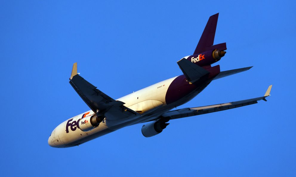A FedEx cargo jet takes off from the Ted Stevens Anchorage International Airport on Jan. 14, 2020. (Matt Tunseth / ADN)