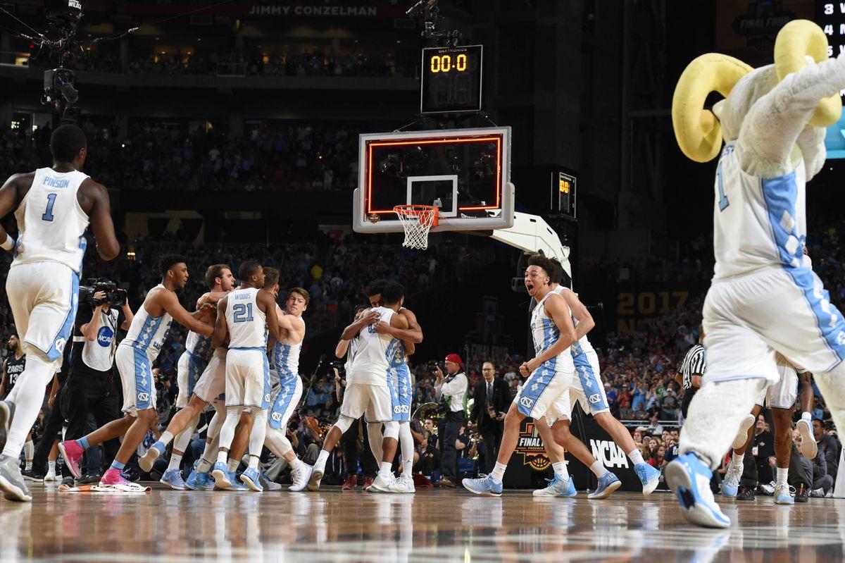 Apr 3, 2017; Phoenix, AZ, USA; North Carolina Tar Heels celebrate after defeating the Gonzaga Bulldogs 71-65 in the championship game of the 2017 NCAA Men's Final Four at University of Phoenix Stadium. (Bob Donnan-USA TODAY Sports)