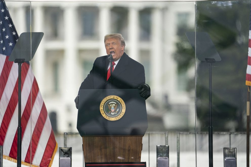 President Donald Trump speaks during a rally protesting the electoral college certification of Joe Biden as President, Wednesday, Jan. 6, 2021, in Washington. (AP Photo/Evan Vucci)