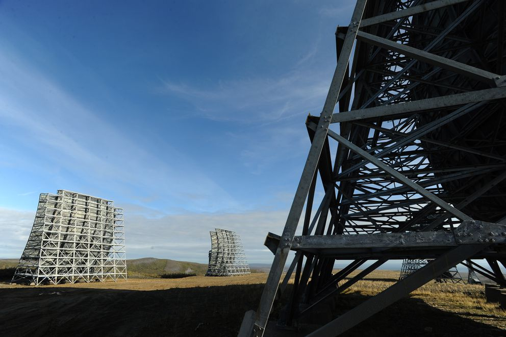White Alice communications antennae stand on Anvil Mountain above Nome on Aug.22, 2016. (Bob Hallinen / Alaska Dispatch News)