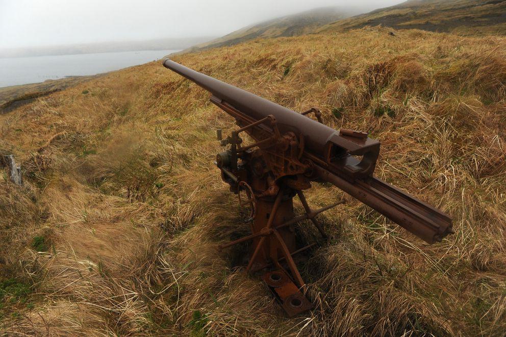 A World War II era Japanese gun emplacement looks over a bay at Kiska Island in the Aleutian Islands on Saturday, June 6, 2015. (Bob Hallinen / ADN)