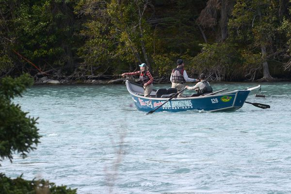 Fishermen ply the waters of the Kenai River from a drift boat, Sept. 6, 2019. (Anne Raup / ADN)