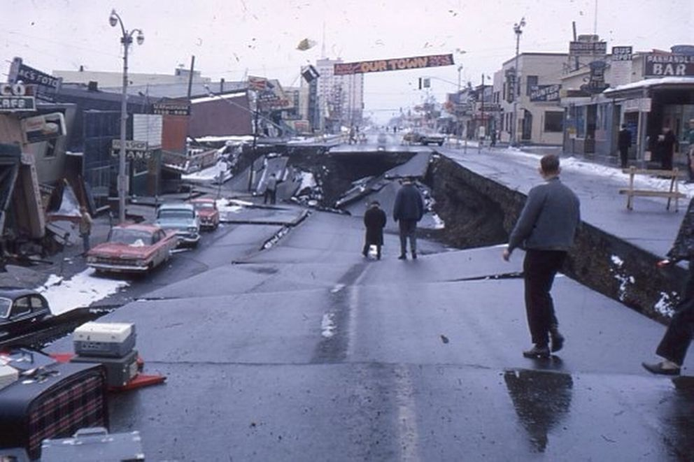 The 1964 earthquake heavily damaged much of Anchorage, Alaska. Harvey Chafitz photo