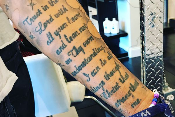 Ed had a verse from Proverbs tattooed on his arm. When he washed my hair, sometimes I teared up. (Julia O'Malley/ADN)