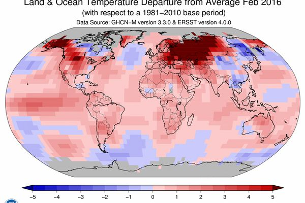 This image provided by The National Oceanic and Atmospheric Administration (NOAA) shows a map worldwide temperature anomalies for the month of February 2016. It was the 10th month in a row to break warmth records and did so by such a margin -- it was the most above-normal month since meteorologists started keeping track in 1880 -- that scientists were left grasping for adjectives to describe it.
