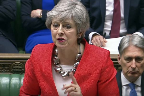 In this grab taken from video, Britain''s Prime Minister Theresa May speaks during the Brexit debate in the House of Commons, London, Tuesday March 12, 2019. Britain's attorney general punctured Prime Minister Theresa May's hopes of winning backing for her Brexit deal Tuesday, saying last-minute changes secured from the European Union didn't give Britain the power to cut itself free of ties to the bloc. (House of Commons/PA via AP)