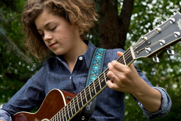 Girdwood singer-songwriter Ava Earl, 14, recently released her second album and will play at the Salmonfest music festival next month. Photographed on July 25, 2017. (Marc Lester / Alaska Dispatch News)