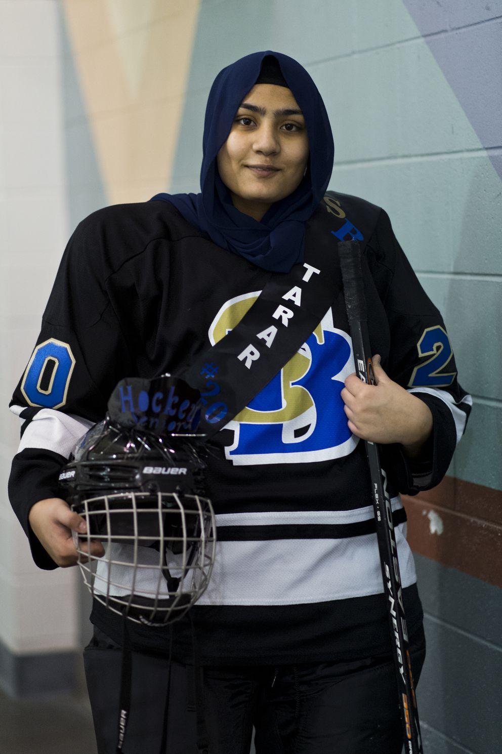 Leena Tarar, of Khewra, Pakistan, plays for the South/Bartlett JV hockey team on January 25, 2019. (Marc Lester / ADN)
