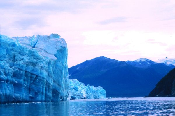 Hubbard Glacier, restless as ever, calves into Disenchantment Bay north of Yakutat. (Ned Rozell)