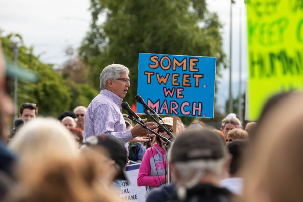 Lt. Governor Byron Mallott speaks at the Families Belong Together rally Saturday, June 30, 2018 at Delaney Park. The rally was organized to protest the separation of migrant children from their families, according to organizers. (Loren Holmes / ADN)