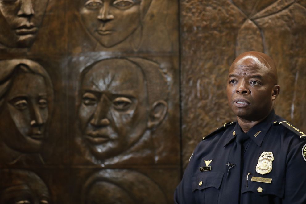 Interim Atlanta Police Chief Rodney Bryant speaks to the Associated Press on Thursday, June 18, 2020, in Atlanta. On Saturday, June 13, Former Atlanta Police Chief Erika Shields resigned after an officer fatally shot Rayshard Brooks after a struggle in a Wendy's restaurant parking lot. (AP Photo/Brynn Anderson)