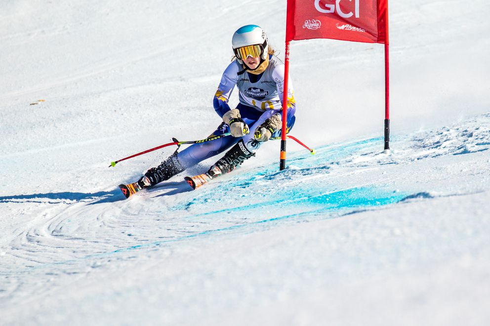 Piper Sage carves past a gate on the Cabbage Patch pitch Friday at Alyeska Ski Resort. (Photo by Bob Eastaugh)