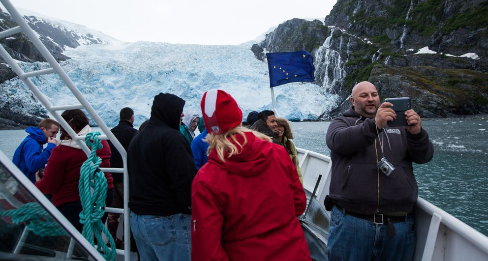 Cary Serack of Calgary, Alberta, takes a selfie during a glacier tour with Major Marine Tours out of Whittier on Wednesday, June 18, 2014, on Prince William Sound. (Tara Young / ADN archive)