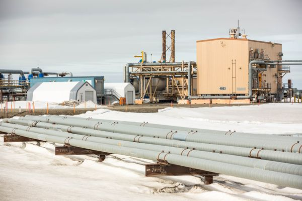 Pipelines and oilfield equipment at Prudhoe Bay drill site L3 on Alaska's North Slope on Friday, May 22, 2015. (Loren Holmes / Alaska Dispatch News)