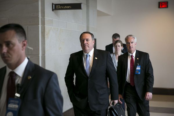 FILE -- Mike Pompeo, center, director of the CIA, on Capitol Hill in Washington, May 16, 2017. The CIA has been pushing for expanded powers to carry out covert drone strikes in Afghanistan and other active war zones, a proposal that the White House appears to favor despite the misgivings of some at the Pentagon, according to current and former intelligence and military officials. (Al Drago/The New York Times)
