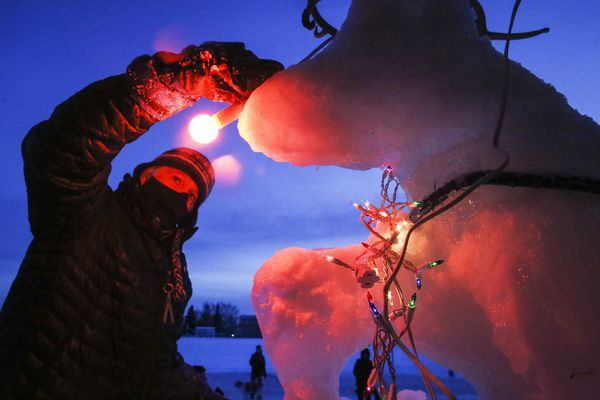 Jimmie Froehlich attaches a red nose to an ice sculpture of Rudolph he and other volunteers made outside a home on the west end of the Delaney Park Strip in Anchorage on Friday, Dec. 11, 2020. (Emily Mesner / ADN)