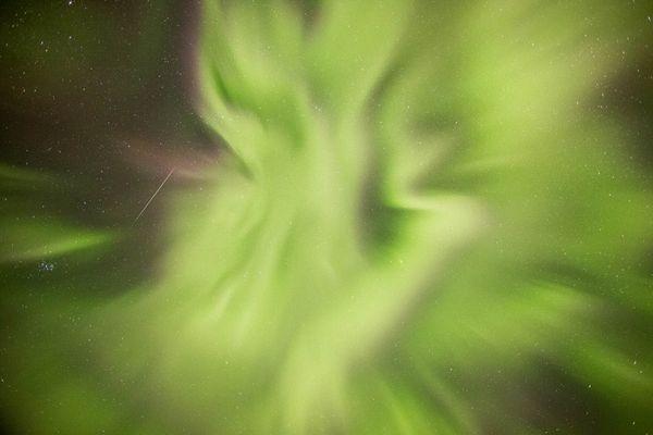 The aurora borealis puts on a display above Turnagain Pass early Wednesday morning, November 4, 2015. (Loren Holmes / Alaska Dispatch News)