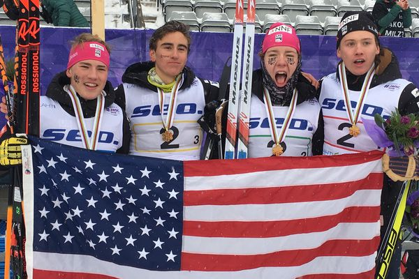 Gus Schumacher and Luke Jager of Anchorage helped carry the United States to the gold medal in the men's relay Saturday, Jan. 26, 2019, at the World Junior Championships in Lahti, Finland. From left: Schumacher, Johnny Hagenbuch of Idaho, Ben Ogden of Vermont and Jager. (Photo courtesy Schumacher family)