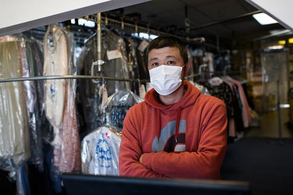 "Jun Kwon, owner of King's Cleaners on Huffman Road said he's not opposed to the city order requiring masks on June 29, 2020. ""If it makes other people feel safer, it doesn't bother me.""(Marc Lester / ADN)"