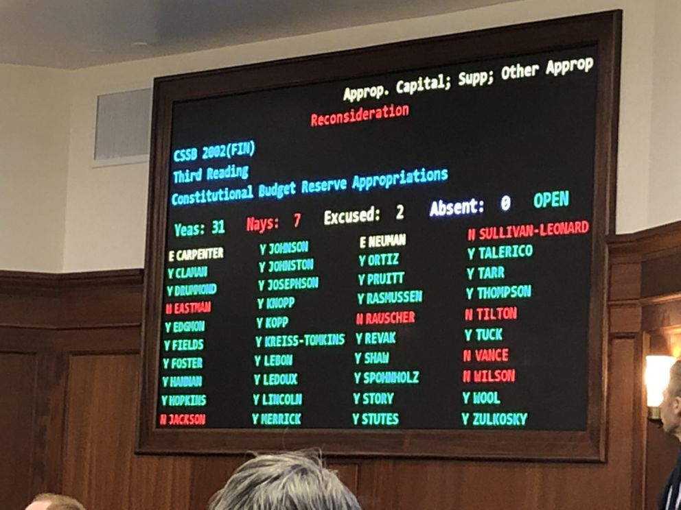 The voting board in the Alaska House of Representatives on Monday, July 29, 2019, displays votes for and against funding Senate Bill 2002 from the Constitutional Budget Reserve. Thirty votes were needed. (James Brooks / ADN)