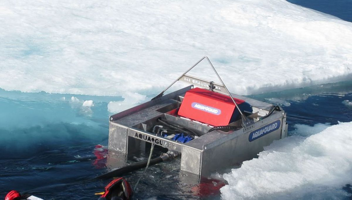 The RotoX oil skimmer is tested in the icy Beaufort Sea inJuly. (U.S. Coast Guard)