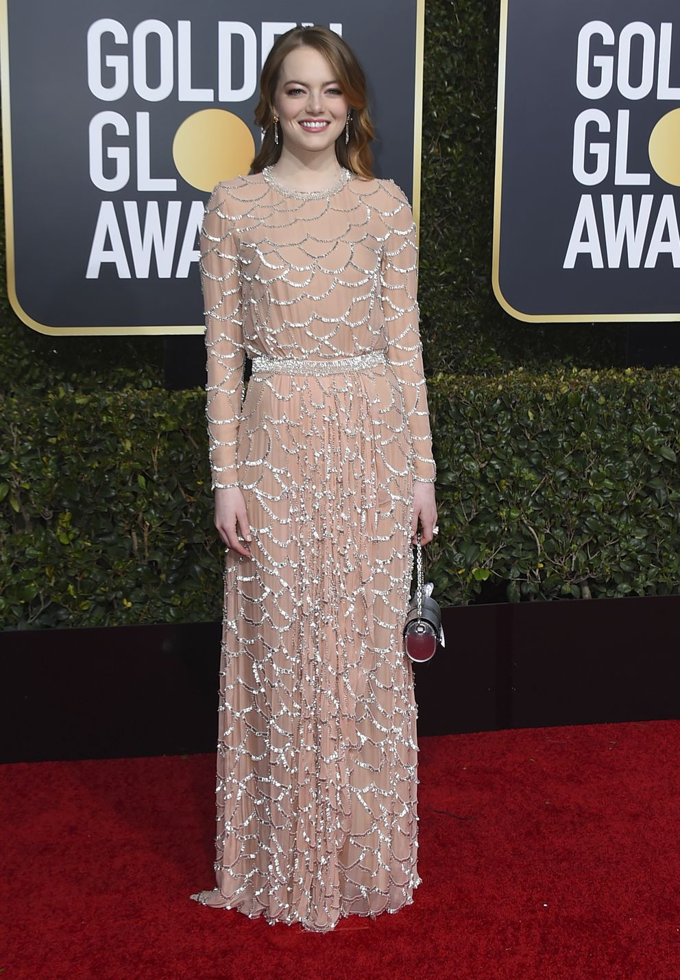 Emma Stone arrives at the 76th annual Golden Globe Awards at the Beverly Hilton Hotel on Sunday, Jan. 6, 2019, in Beverly Hills, Calif. (Photo by Jordan Strauss/Invision/AP)