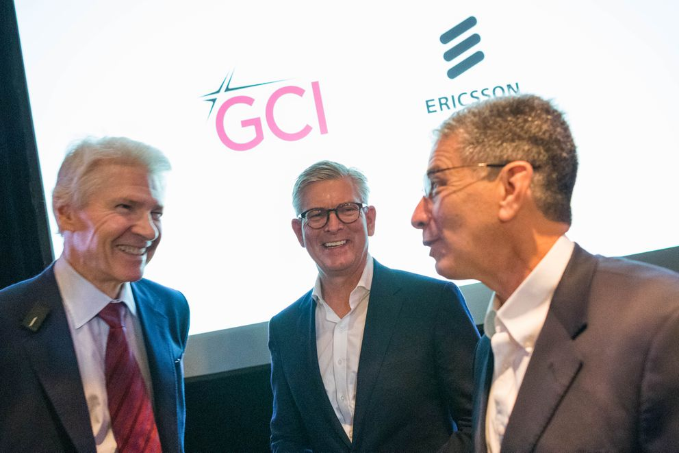 From left, GCI CEO Ron Duncan, Ericsson CEO Börje Ekholm, and Anchorage Mayor Ethan Berkowitz talk after a press conference announcing GCI's rollout of 5G wireless service on Tuesday, June 18, 2019 at Alaska Pacific University in Anchorage. GCI will use technology from Ericsson in their 5G network, which will roll out first to Anchorage before expanding to other parts of Alaska. (Loren Holmes / ADN)